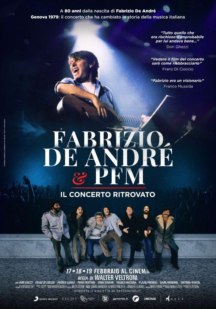 """Per tre giorni al cinema, dal 17 al 19 febbraio """"Fabrizio De André & PFM, il concerto ritrovato""""."""